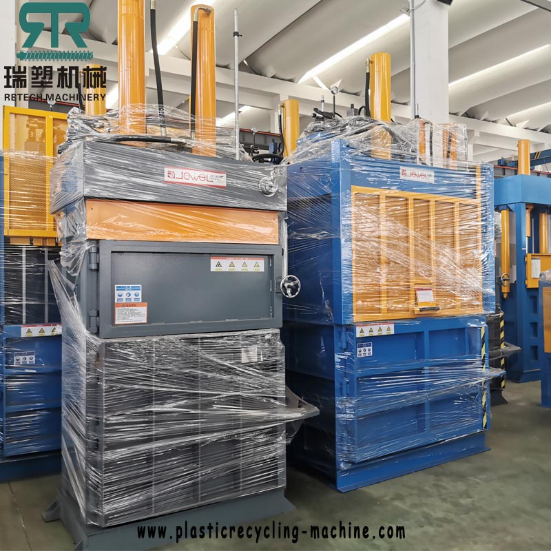 Full Automatic Plastic PET Bottle LDPE Agriculture Film LLDPE Packaging Film Compression Baler with Two Side Door Feeding