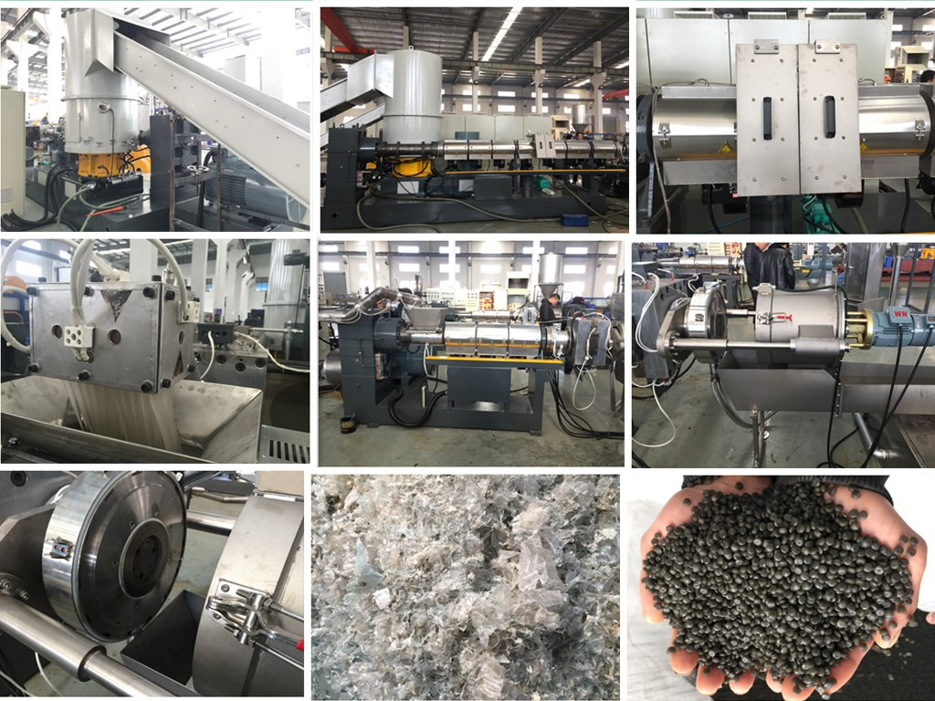 China LDPE agriculture cover film pelletizing machine with double stage