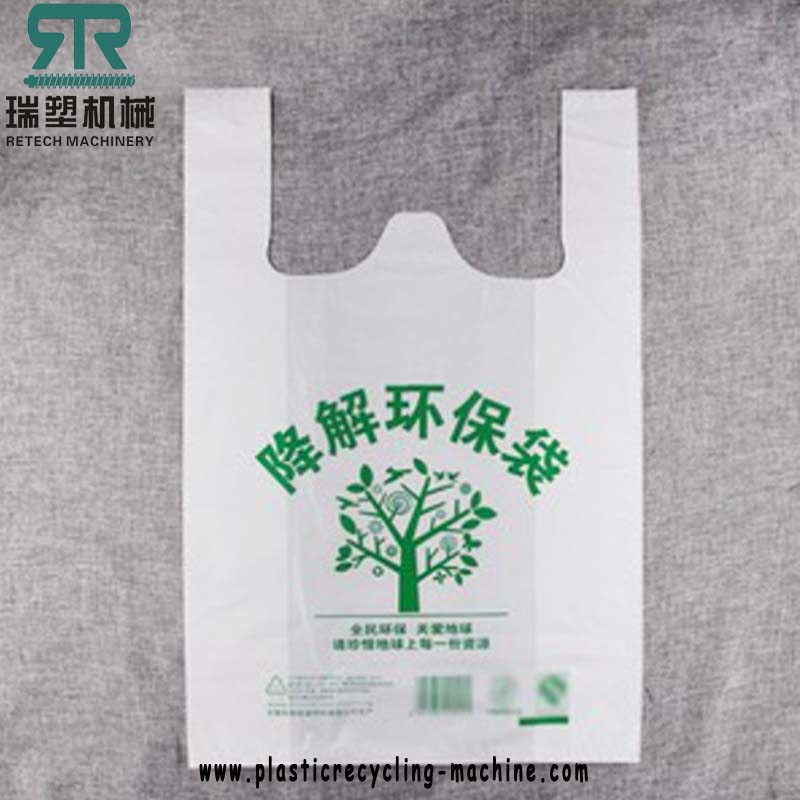 Biodegradable plastic film recycling machine